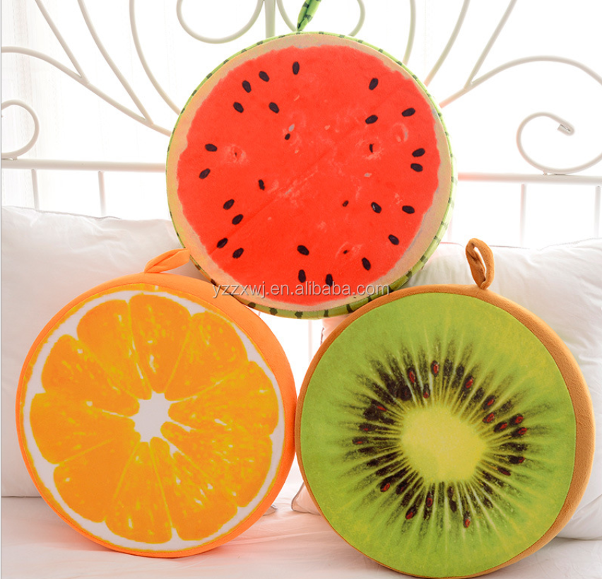 free sample fruit foam chair seat cushion Hot sales 3D soft plush fruit shape pillow cushion cover wholesale plush pillow for