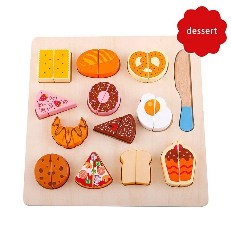 Kids Cooking Kitchen Toy Wooden Cutting Fruits Vegetables Dessert Food Magnetic Puzzle Educational Toys for Children