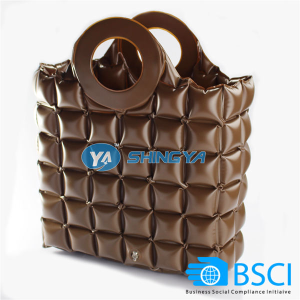 Fashion PVC inflatable bubble bag tote handbag for promotion (BSCI audit)