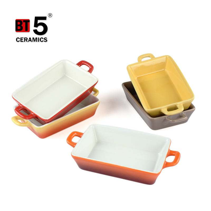 Multi color rectangular ceramic pan, ceramic baking dish, bread plate for sale