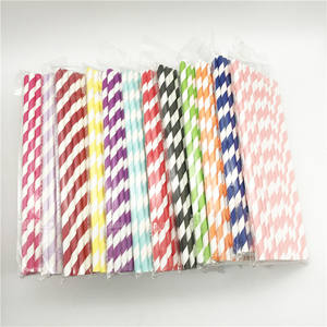 10000 pcs Coloful Striped Biologisch Abbaubare Recycling Papier Strohhalme