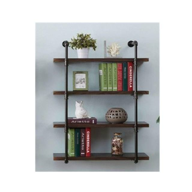 4-Shelf Retro Cast iron Pipe Shelf Unit, Metal Decorative Pipe Fitting Book Shelf for Home or Office Book Organizer