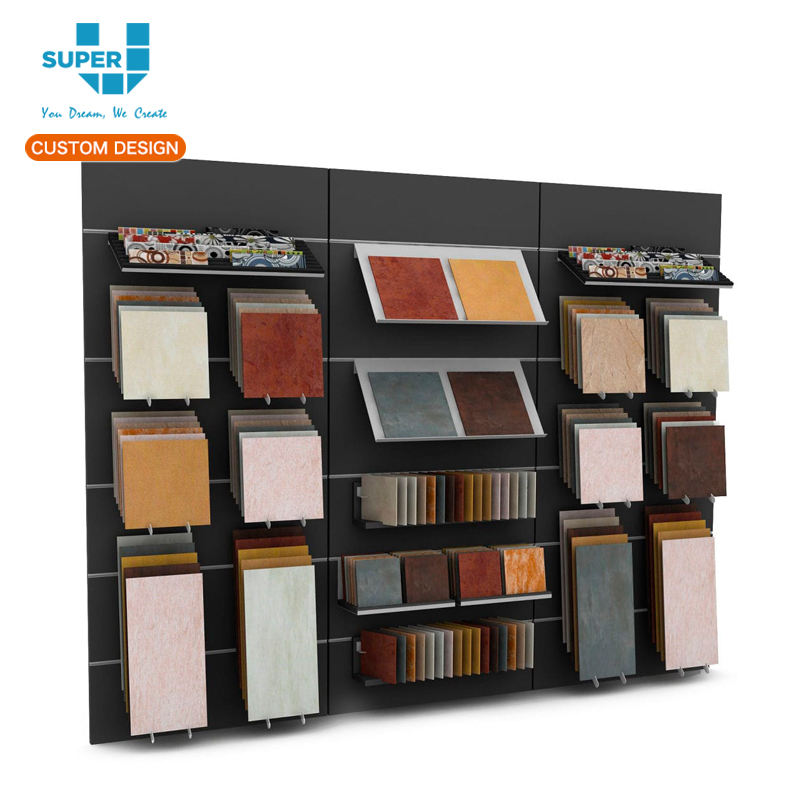 Custom Showroom Exhibition Wooden Ceramic Tile Display Shelf Unit