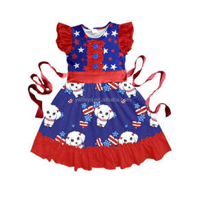 MY-007 2018 New Baby Girls 4th Of July Ruffle Summer Outfits Navy Navy Star &Striped 4Th Of July Clothes Summer Vacation Outfit