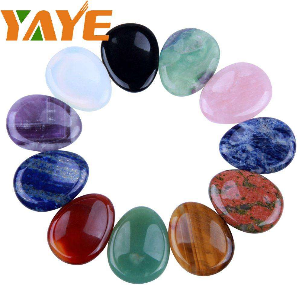Bulk Wholesale Natural Crystal Palm Stone Semi-precious Thumb Worry Stone