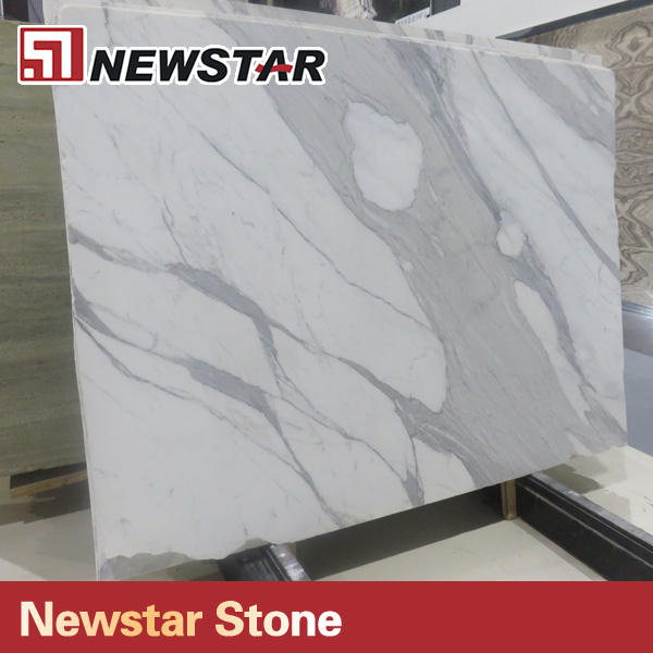Newstar high polished italy Calacatta white 6x8 deco wall tile marble tile for floor and wall