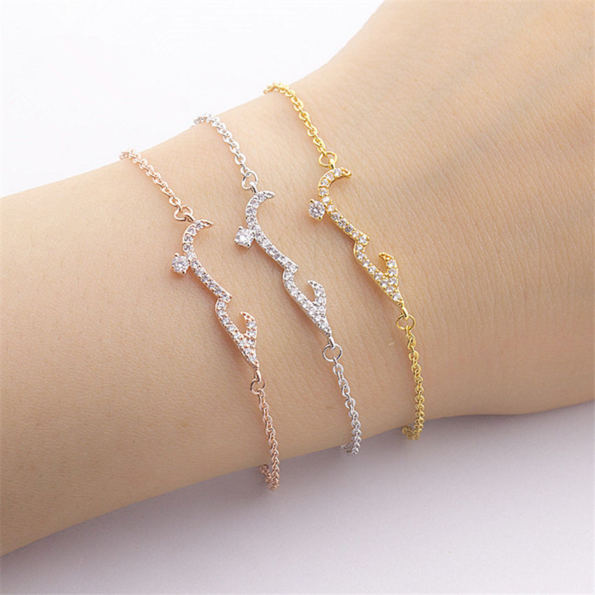 CZ Arabic Word Bracelet Jewelry Women Wedding Accessories 18K Gold Plated Fashion Bracelet Bangle