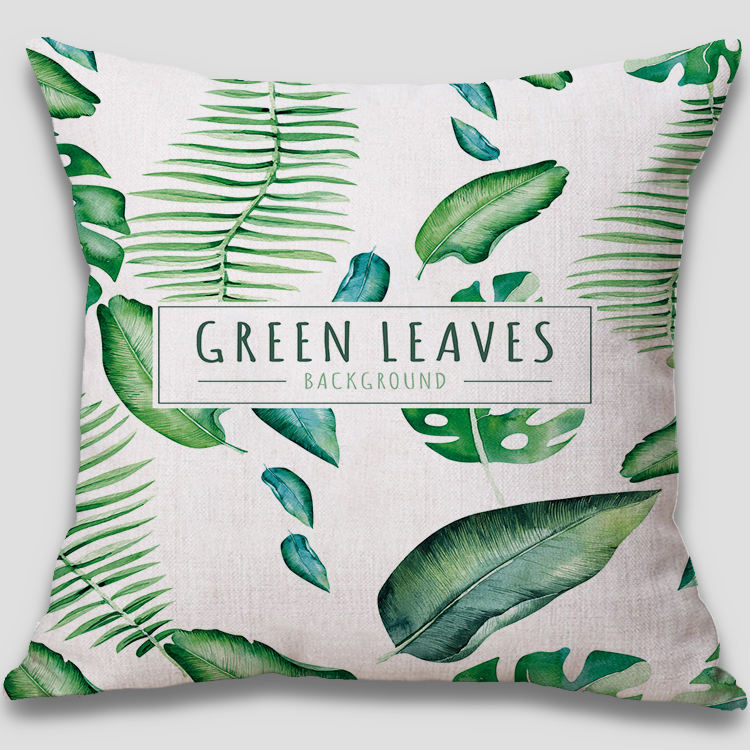 Design Printed Cushion Woven Linen / Cotton Print Banana Leaf 45x45 Customized Green Linen Cushion Cover Printing Cheap Cushion Cover