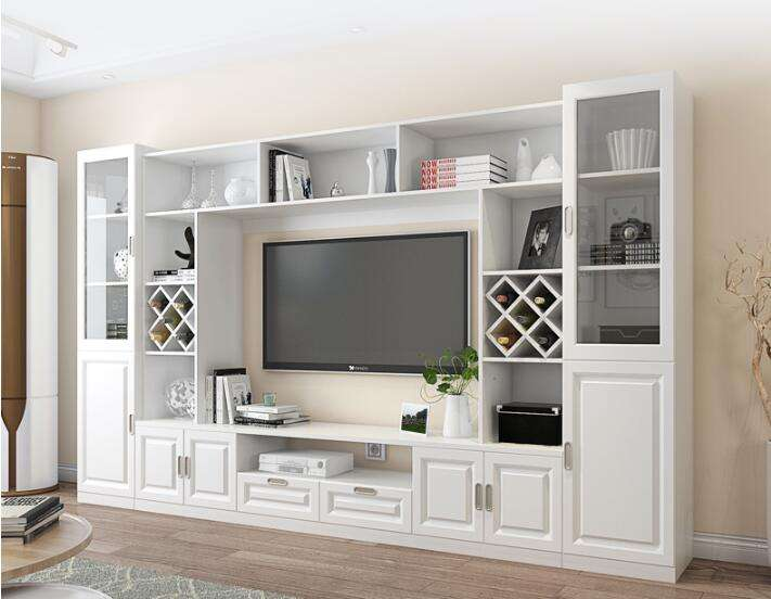 Led television showcase white modern high gloss TV stand plywood mdf tv cabinet