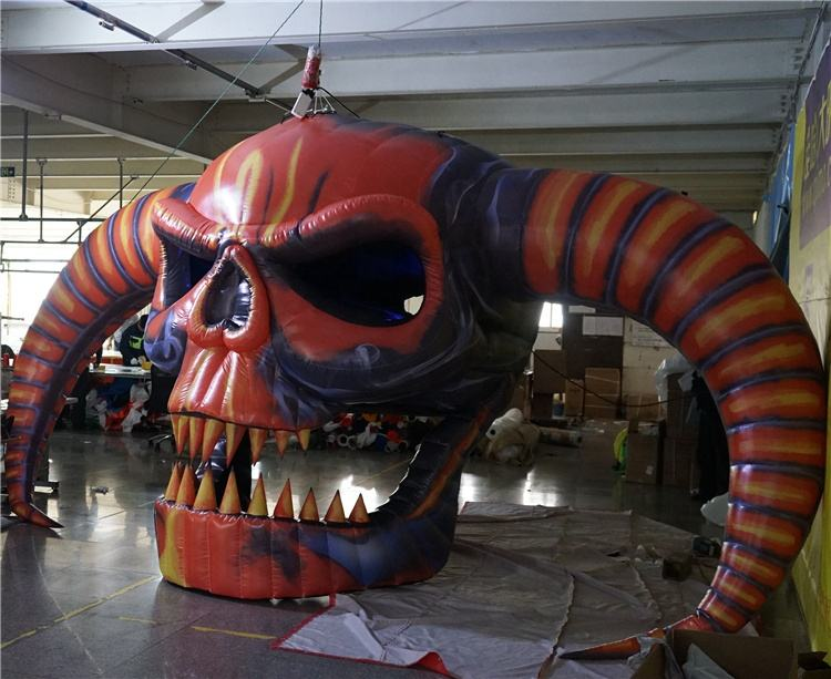 Hot inflatable devil skeleton skull decoration for Halloween