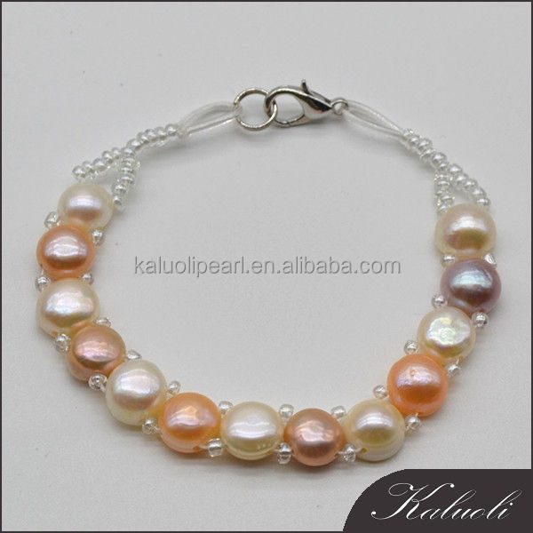 Real button freshwater pearl bracelet nature color perle