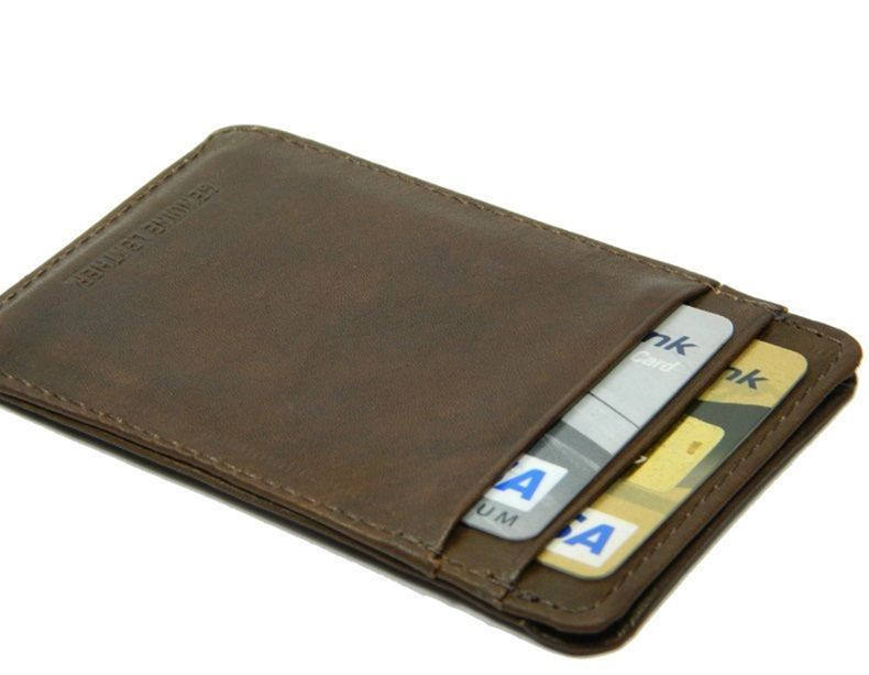 Slim Brown Real Leather Credit Card Oyster Holder Mini Small Thin Wallet Case Card Holder Credit