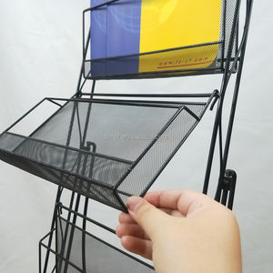 Wholesale Modern Shop Display Silver Metal Wire Folding Commercial Mesh Magazine Rack