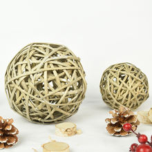 FSC BSCI natural material handmade weaving  willow gifts and crafts christmas tree decoration wicker ball