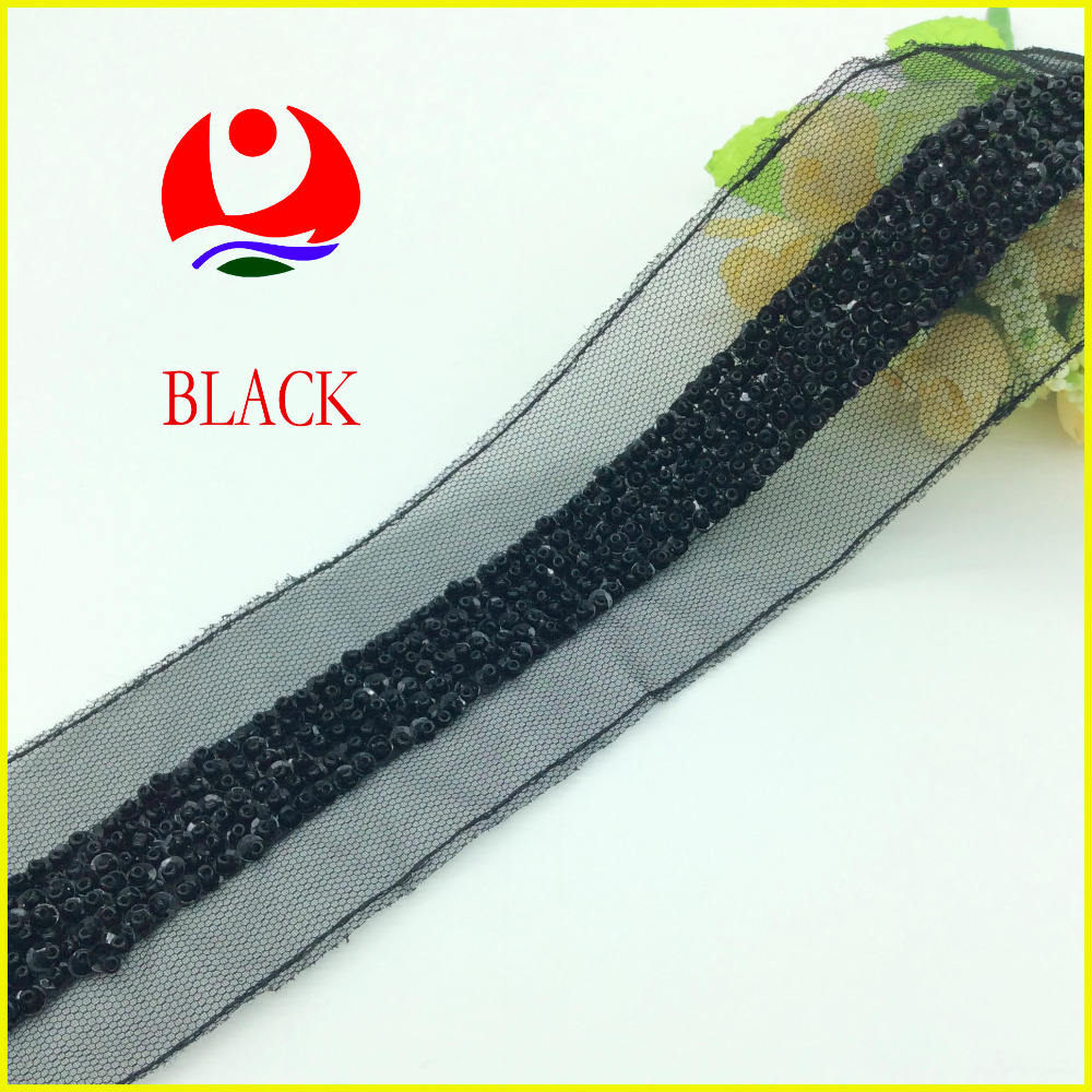 Beautiful Hand Embroidered Beads Sequins Black Sequin Lace trimming for Cuff Decoration Belt Decoration