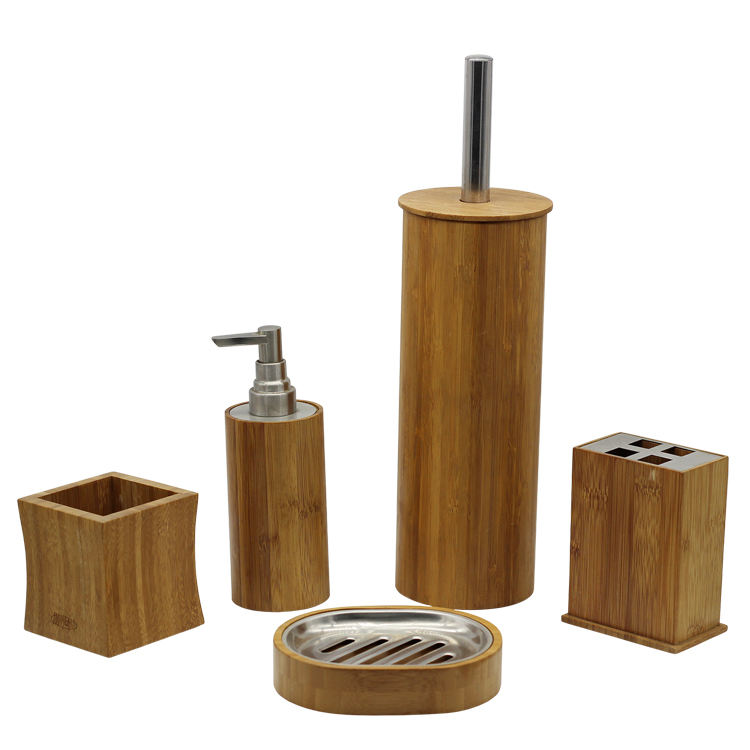 BX Group hot sale natural wood round bathroom accessory set product