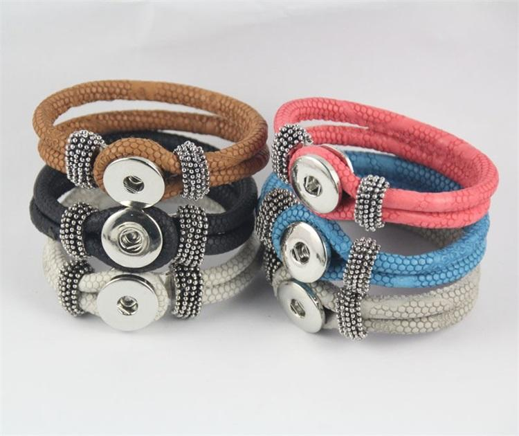 Hot selling interchangeable DIY ginger snap button stingray leather bracelet