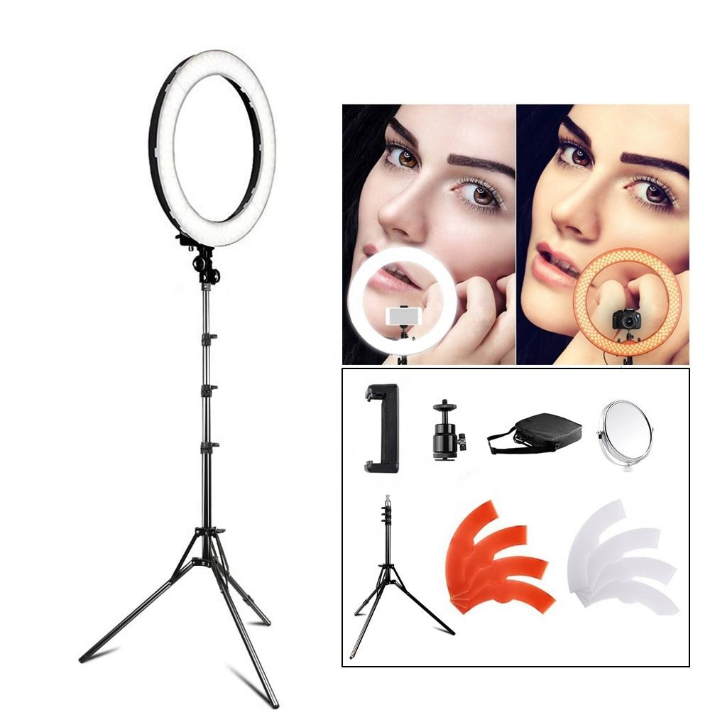 Studio Lighting 18 Inch 5500K Color Changing 55W Tripod Selfie Ring Light LED For Beauty Makeup
