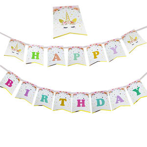 Unicorn Party Supplies Cake Topper  Headband  Plate  Confetti Balloons  Birthday Banner And More Party Tableware