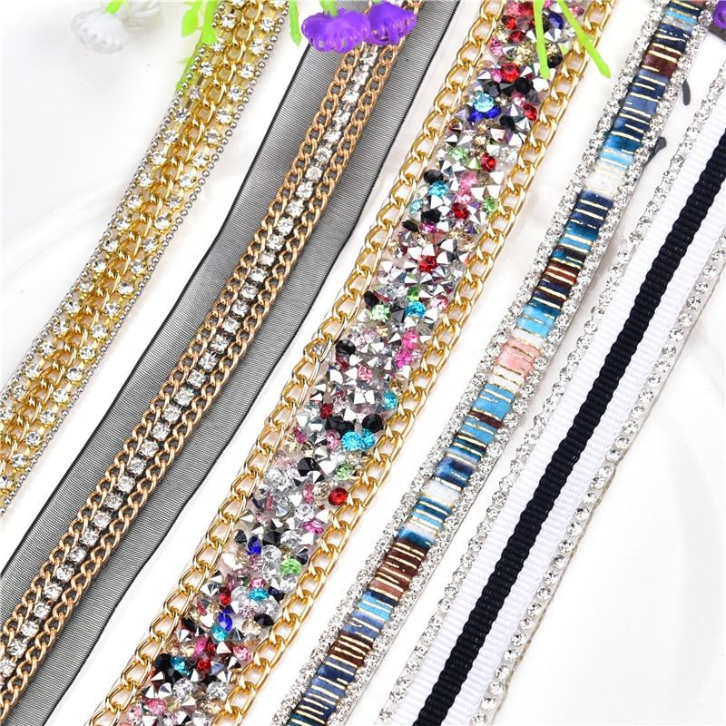 rhinestone transfer mix crystal mesh chain hotfix rhinestone trim banding for shoe