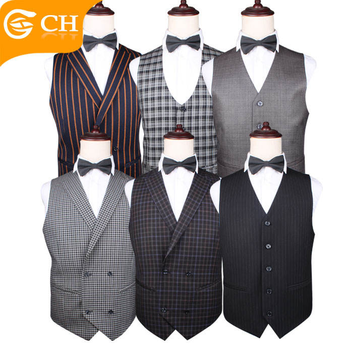 Wholesale High Quality Cotton Stripes Waistcoat Vests with Pockets