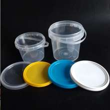 custom food grade clear plastic pail with lid for 1kg honey plastic bucket