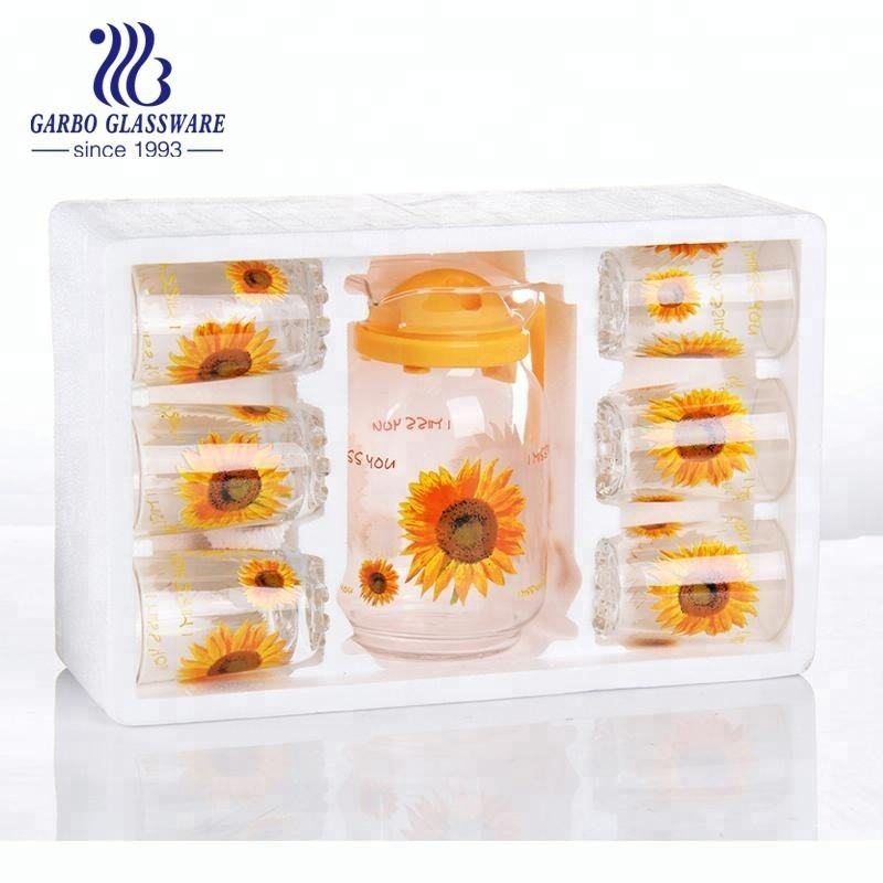 Wholesale Fresh drinking glass cup set glass lemon jug set with gorgeous sunflower printing