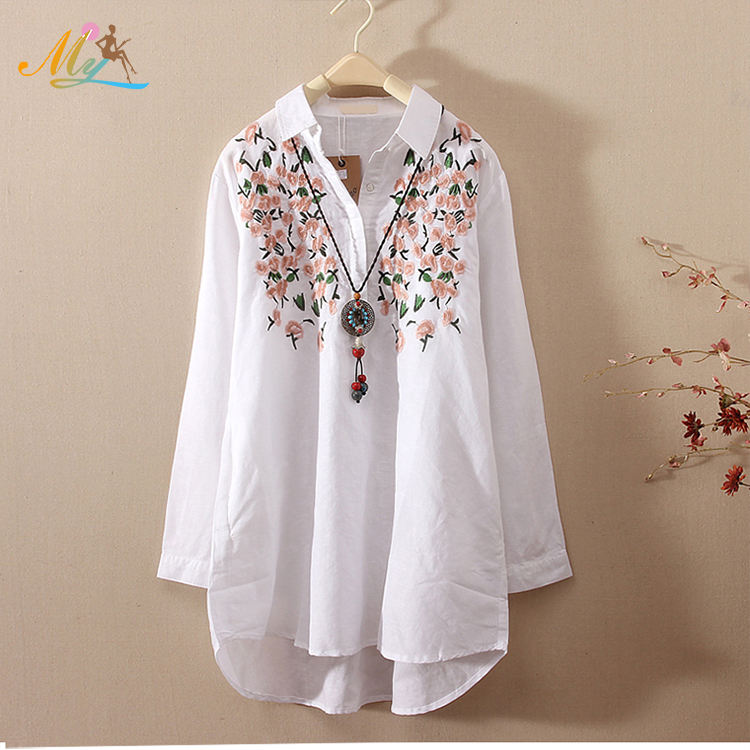 OEM/ODM production professional design embroidered woman blouse