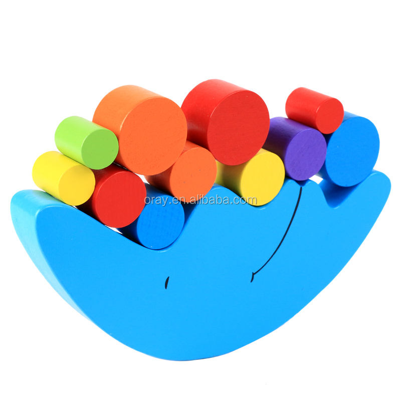Wooden Puzzle Stacking Building Blocks Balance Board Table Game BLUE MOON Balancing Toy Educational Gift for Kids