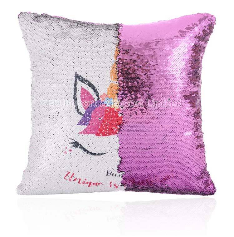 Popular Sequin Pillow Cover Magic Sublimation Custom Blank Cushion Case for Car Decoration Travelling
