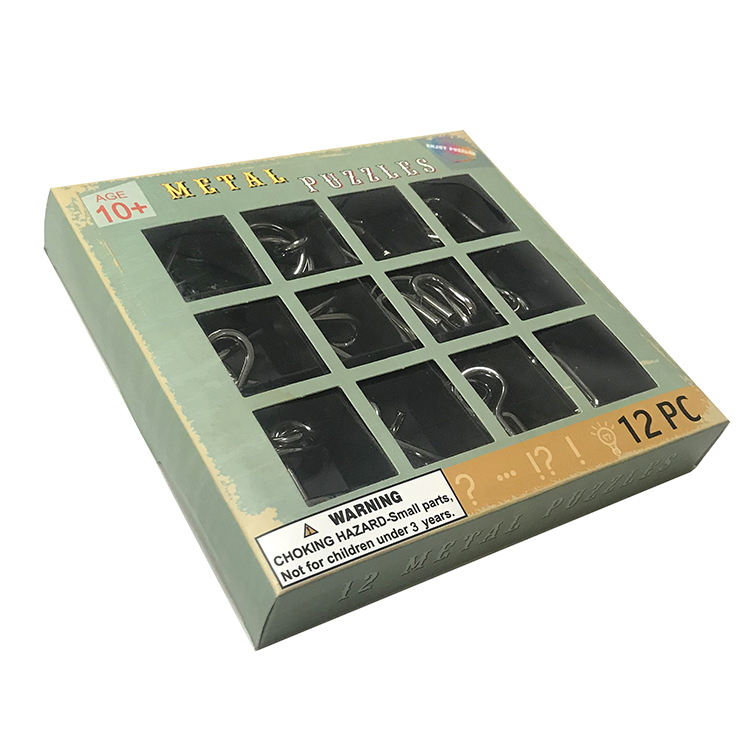 12 Pcs/set Kongming Lock Saling Metal <span class=keywords><strong>3d</strong></span> <span class=keywords><strong>Puzzle</strong></span>