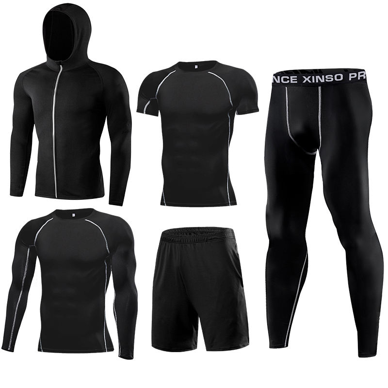 El Factory Direct Te Verkopen 4-Way Stretch Gym Wear Mannen Fitness Running Kleding 5 Delige Set