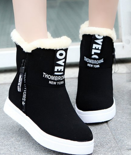 2018 winter new design fashion plush zipper woman flat comfort snow boot