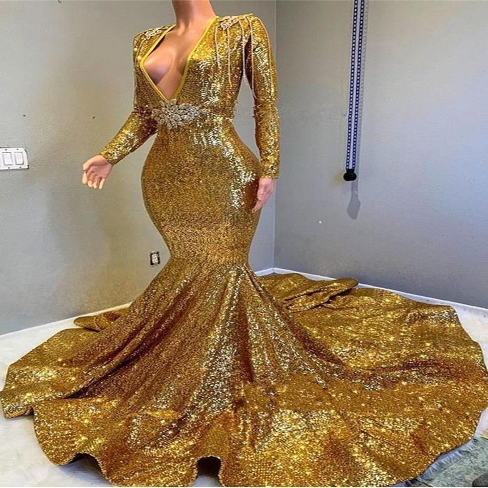 Deep V Neck Mermaid Gold Prom Dresses 2019 Sparkling Sequined Long Sleeves Party Dresses Evening Gowns