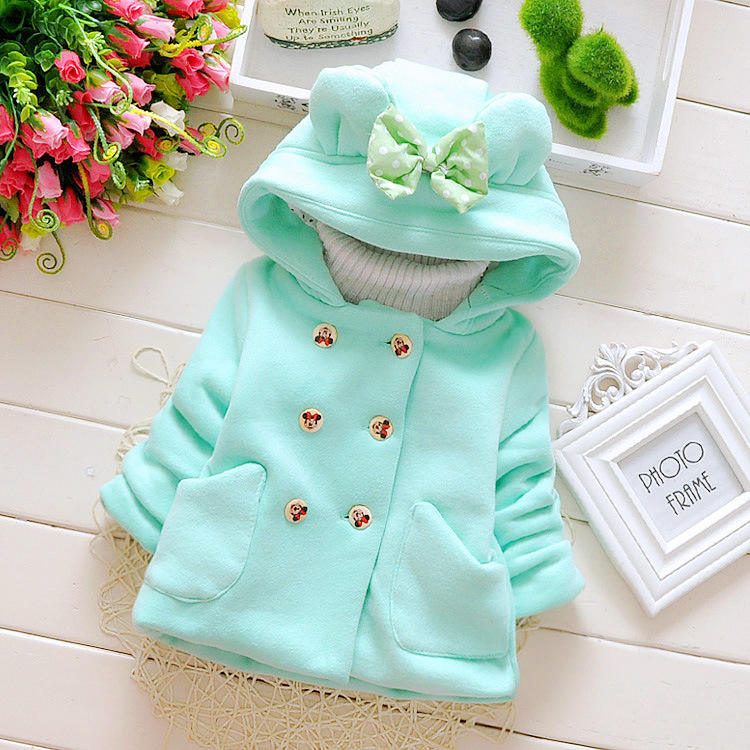 baby firl sweet winter clothes Korean bow thick double-breasted hooded sweater coat kids clothing girl sweet coat