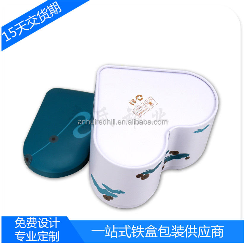 Fine heart - shaped chocolate tinplate wallet biscuits box production and processing matte iron material metal cans
