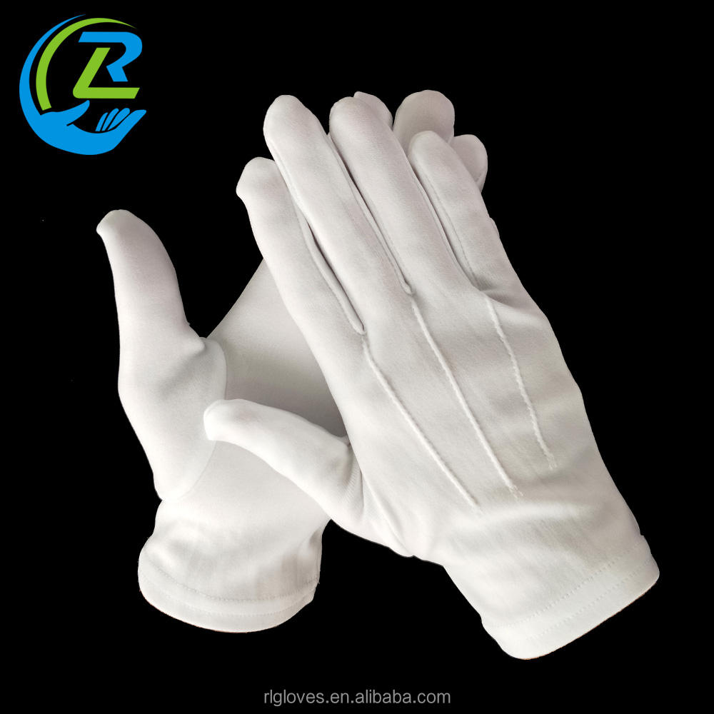 White Nylon 3 lines Etiquette Ceremonial Parade Formal Work Gloves