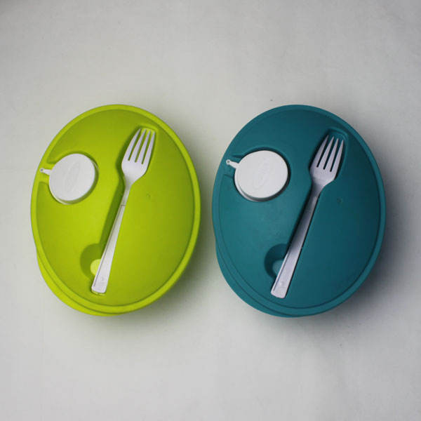 Reusable Take Away 플라스틱 샐러드 Bowl 와 Fork 및 드레싱 상자 및 Source Container