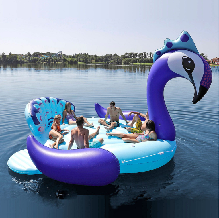 EXTRA large Inflatable water pool floats inflatable 6 person peacocks float Gigantic inflatable Party Bird Island