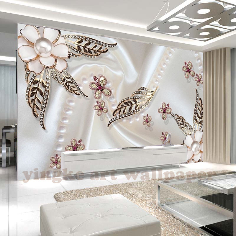 Custom Size Mural pearl flower 3d Photo Wallpaper gloden leaf butterfly floral romance TV Background 3d wallpaper