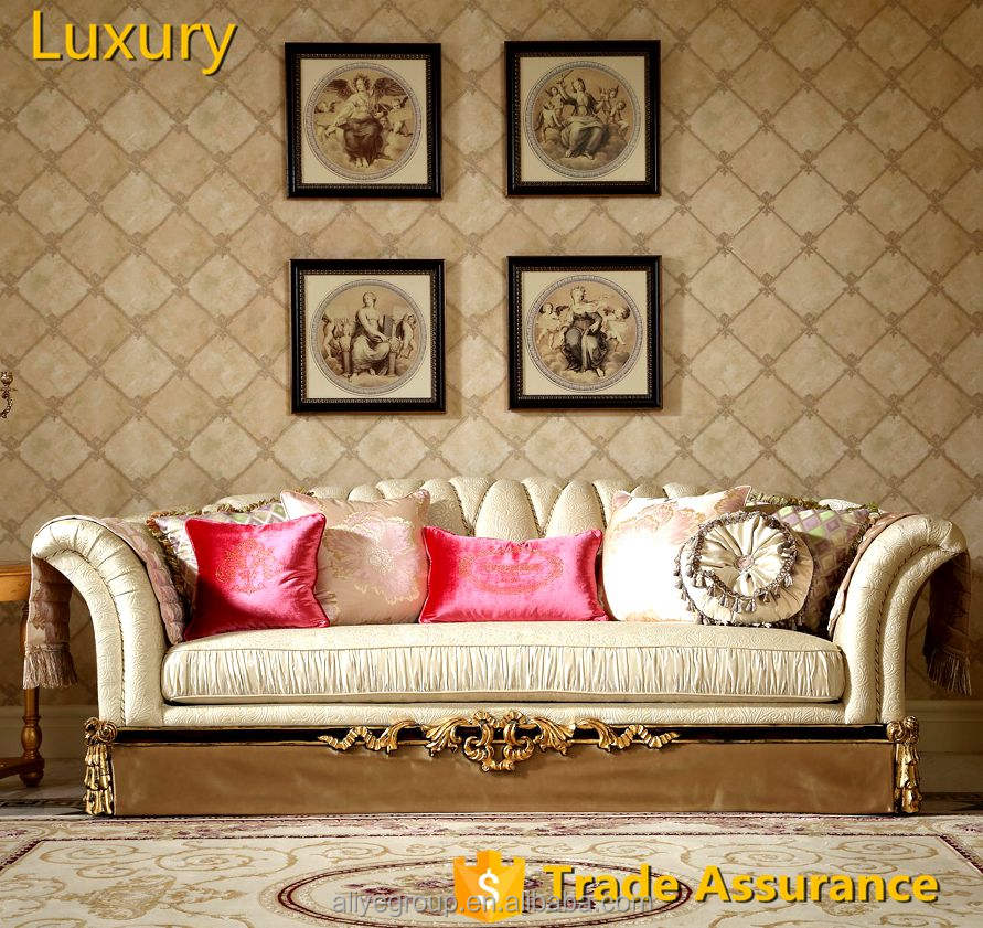 Aliye Luxury living room sofa France white wooden funiture optional fabric sofa-AFD03