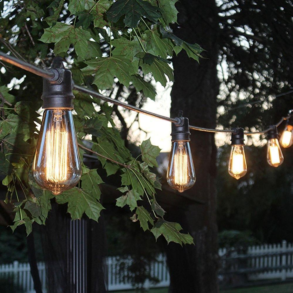Ngoài trời trang trí Chuỗi Lights, 48ft Đèn Patio với 24 Bỏ Ổ Cắm, thời tiết Vintage Edison Chuỗi Lights