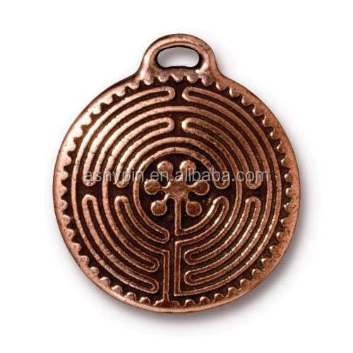 antique copper labyrinth pendant necklace charm