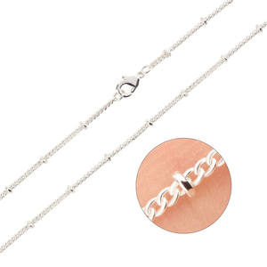 Silver plated solid Brass Satellite Beaded Curb Thin Chain Necklace Bulk for Jewelry Making