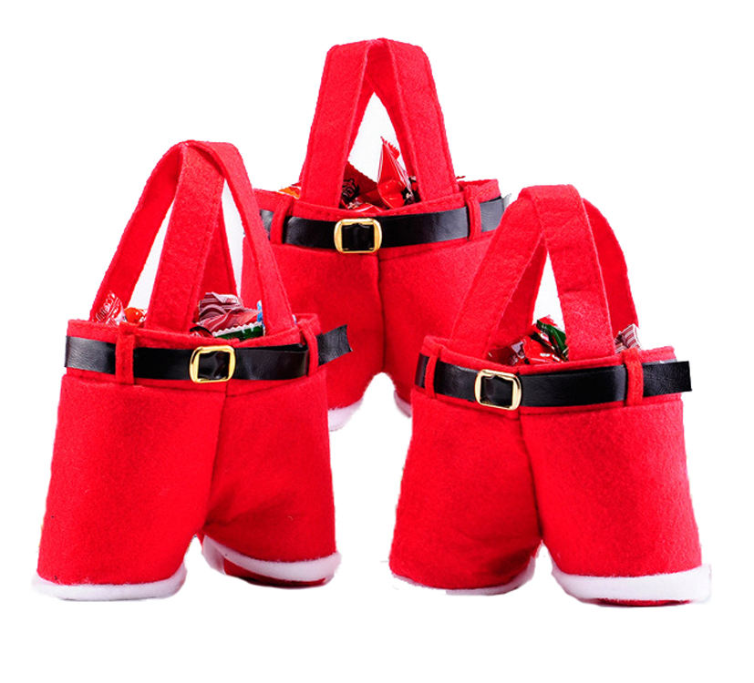 Cute Pants Christmas stocking Gift Bag,Red&White Color Felt Christmas Decoration
