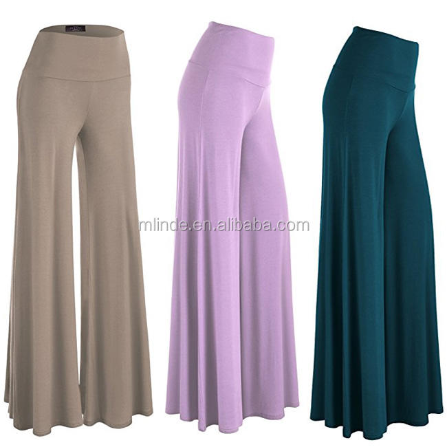 New Arrival Fashion Designs Cheap Custom Logo Bulk Solid Color Blank Wide Leg Palazzo Pants Trousers Manufacturer