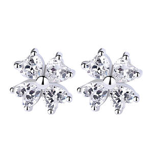 Best Lucky Clover Jewelry 925 Sterling Silver Clover Earring Factory Direct Wholesale