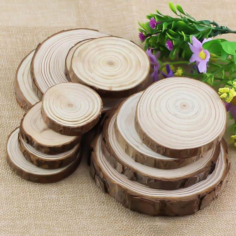 Unfinished Natural Round Wood Slices Circles With Tree Bark Log Discs For DIY Crafts Wedding Party Painting Decoration