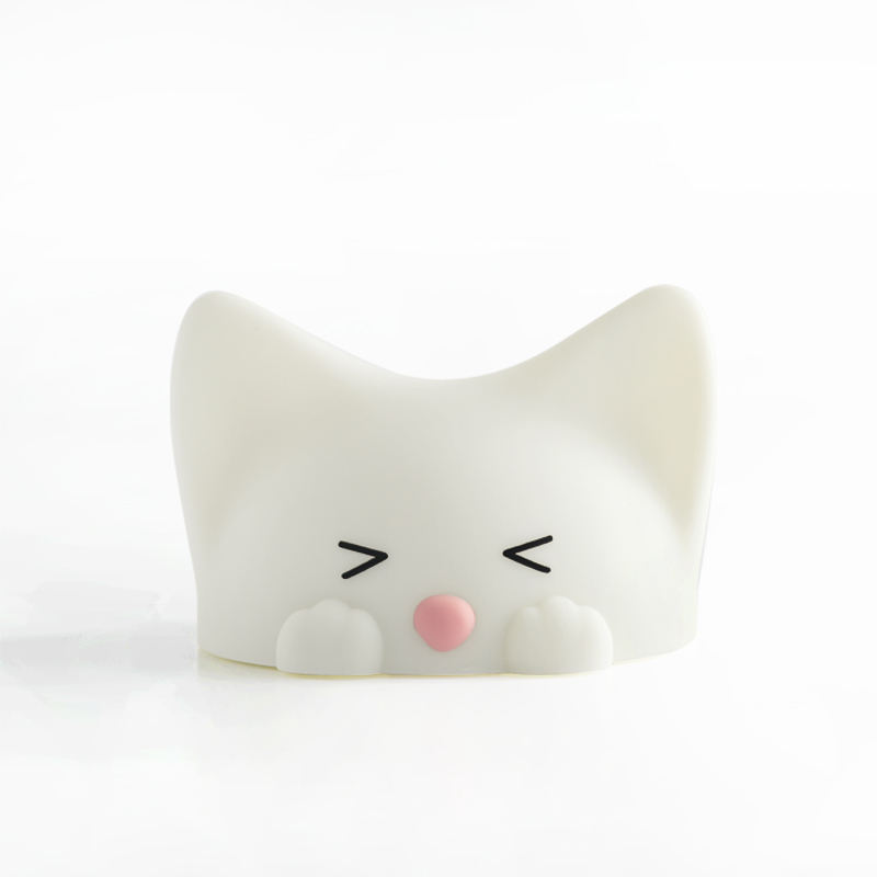 7 color cute cat led night light accompany children to sleep with Cat voice simulator lovely silicone for kids play and lighting