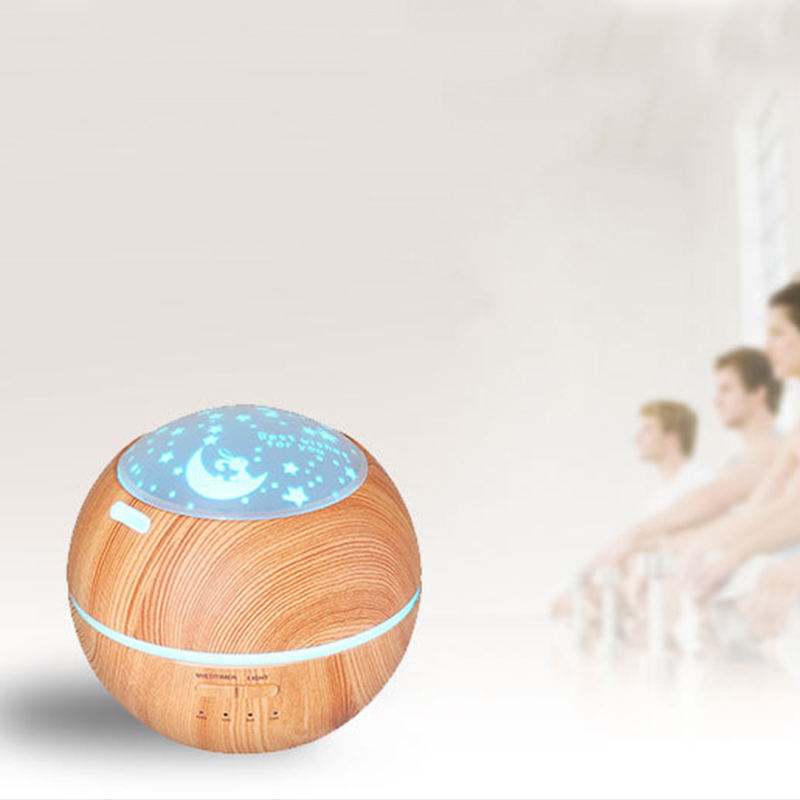 new product wooden grain ultrasonic humidifiers 150ML 35ML/H shadow essential oil diffuser wood base